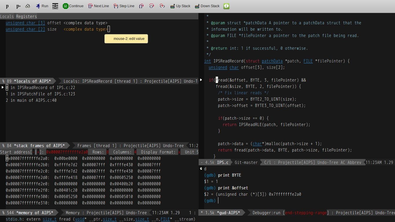GDB support in Emacs