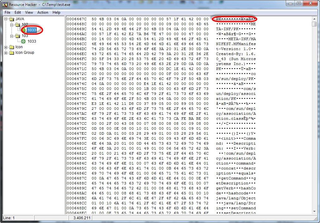 Resource Hacker Screenshot displaying the jar as a resource